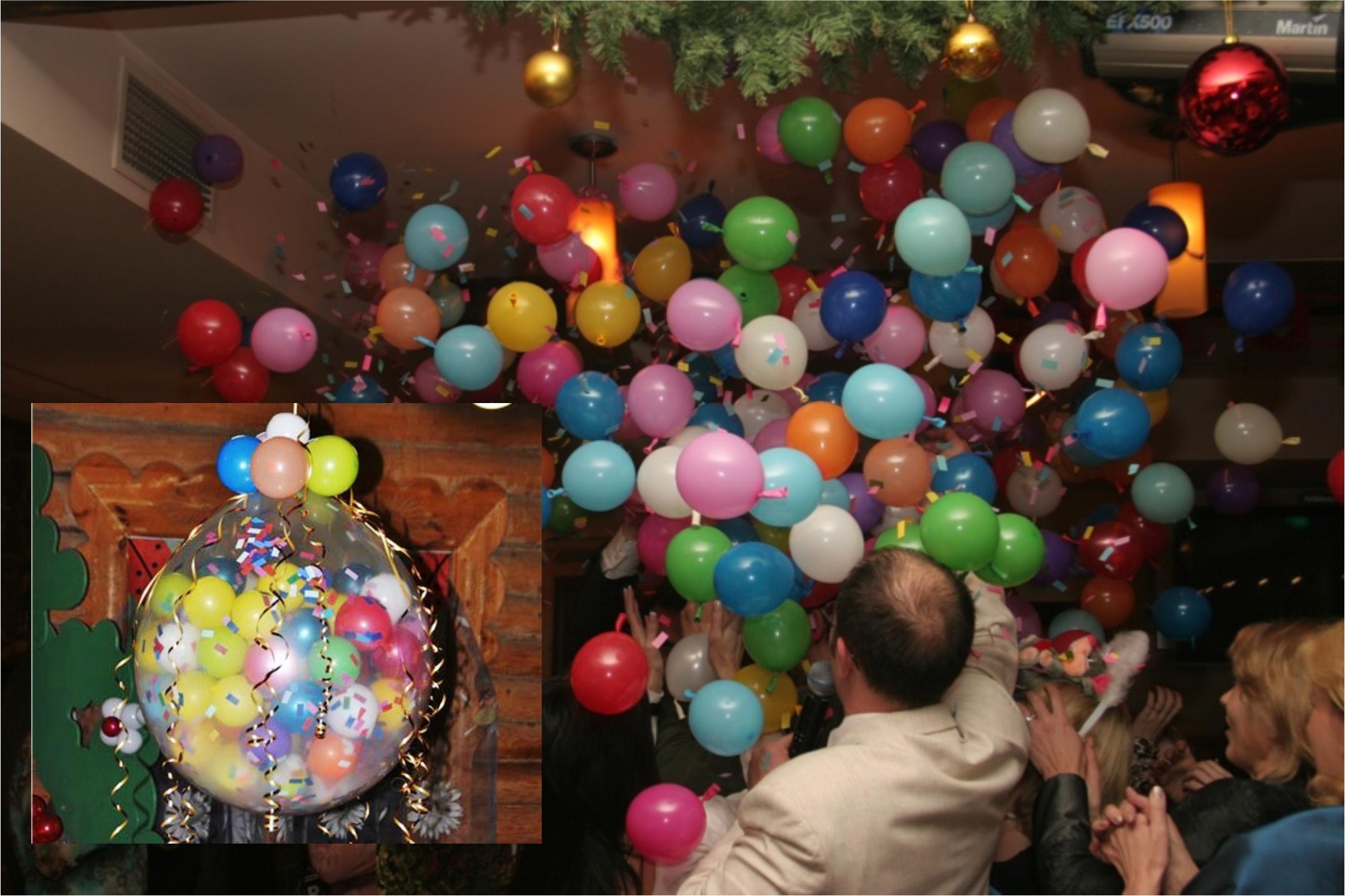 Как сделать так чтобы воздушные шары висели на потолке